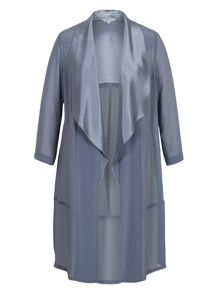 Satin Back Crepe Trim Chiffon Coat