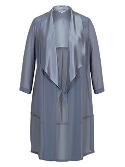 Chesca Satin Back Crepe Trim Chiffon Coat