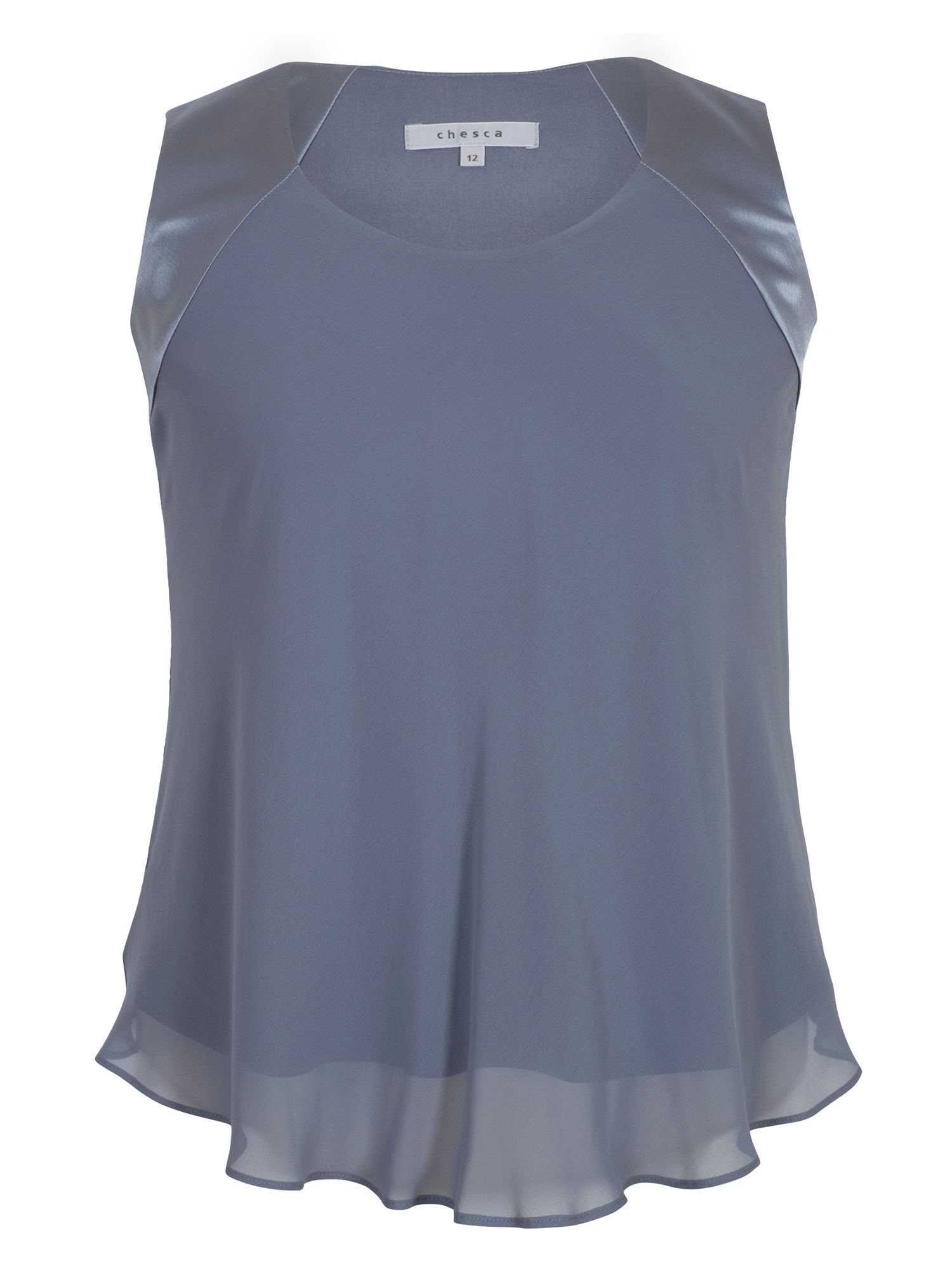 Chesca Chiffon Camisole with Jersey Lining, Grey