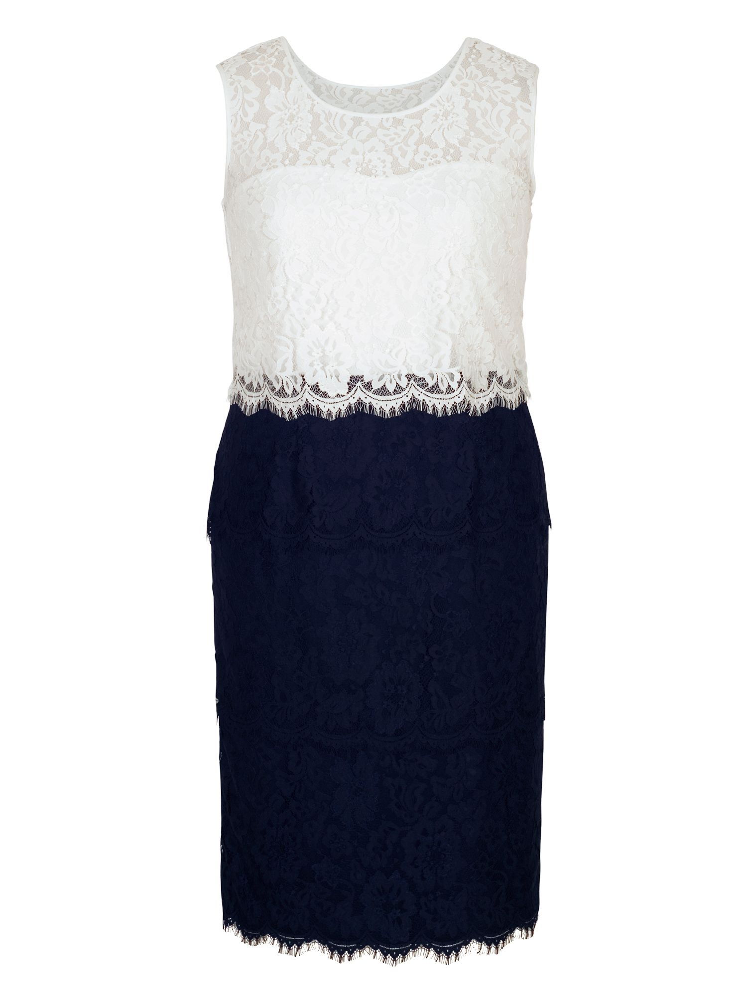 Chesca Scallop Trim Layered Lace Dress, Blue