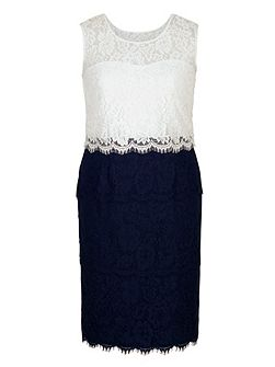 Scallop Trim Layered Lace Dress