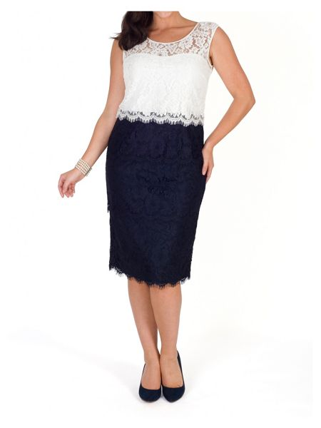 Chesca Scallop Trim Layered Lace Dress