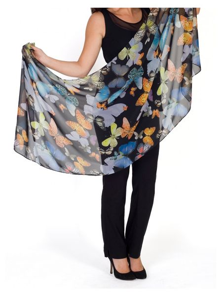 Chesca Butterfly Print Chiffon Scarf