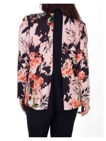 Chesca Rose Print Black Collar Shrug