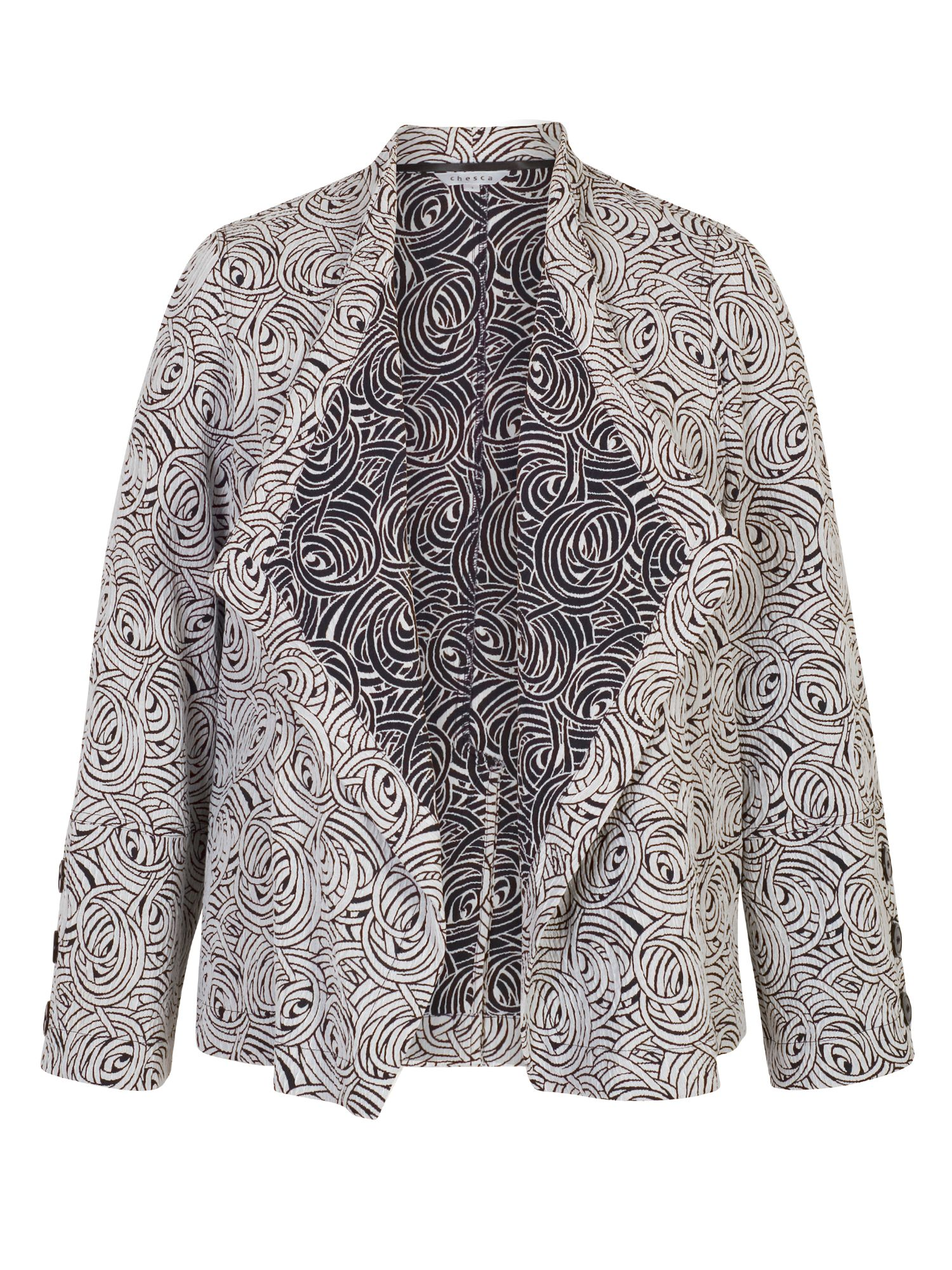 Chesca Swirl Jacquard Button Trim Jacket, Blue