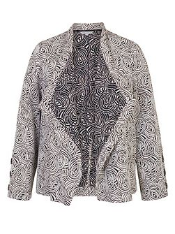 Swirl Jacquard Button Trim Jacket