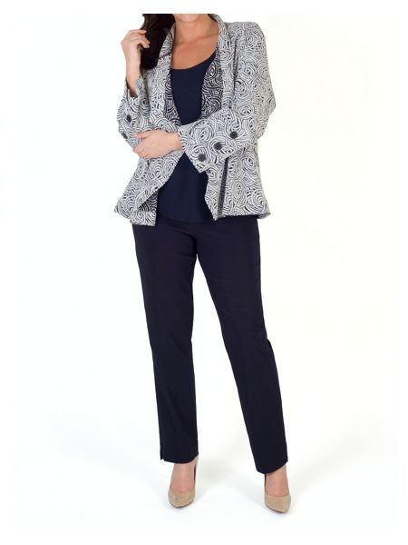 Chesca Swirl Jacquard Button Trim Jacket