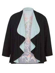 Chesca Floral Border Print Jersey Shrug
