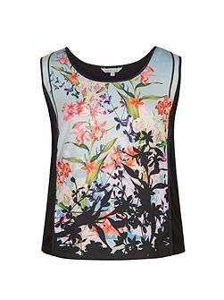 Floral Border Print Jersey Camisole