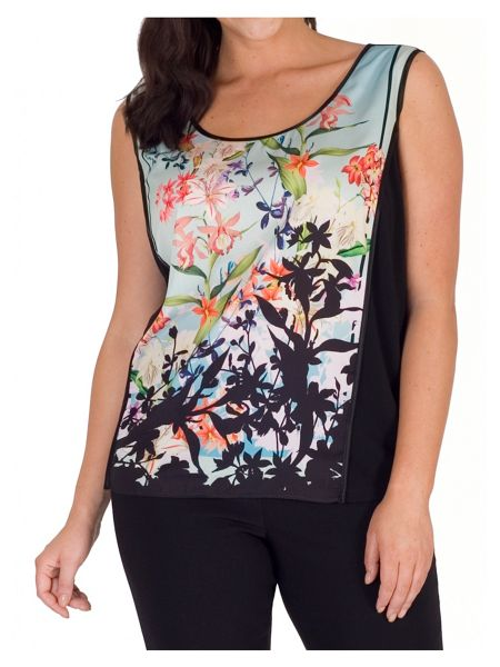 Chesca Floral Border Print Jersey Camisole