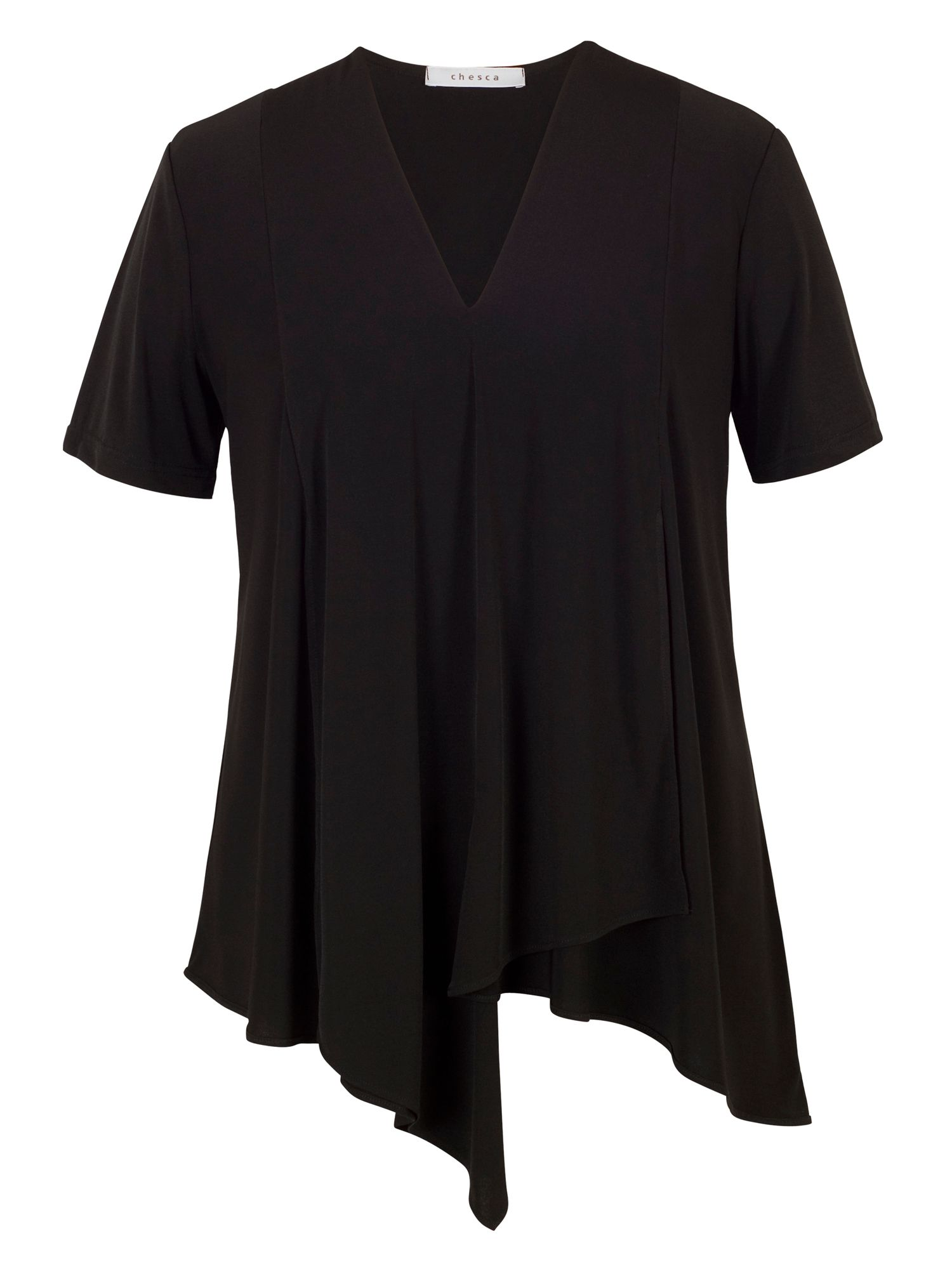 Chesca Asymmetric Layered Jersey Top, Black