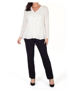 Chesca Button Back Blouse with Chiffon Trim