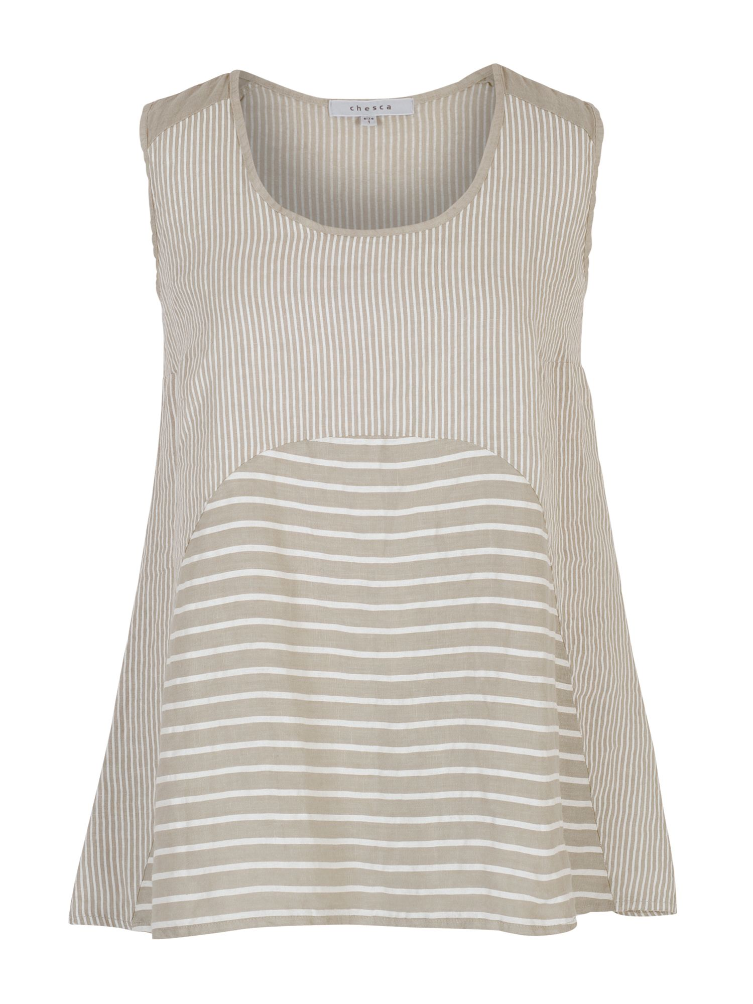 Chesca Mixed Stripe Linen Camisole, White
