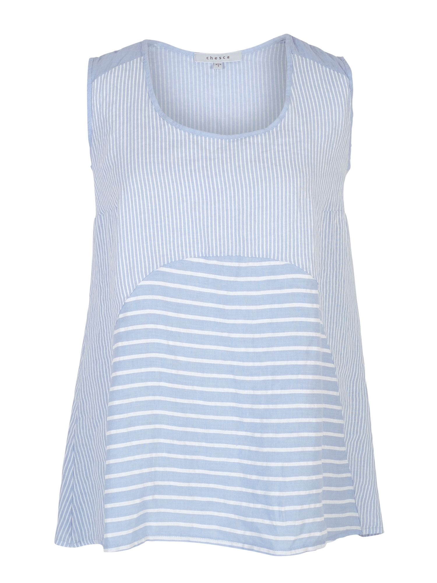 Chesca Mixed Stripe Linen Camisole, Blue