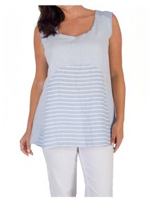 Chesca Mixed Stripe Linen Camisole