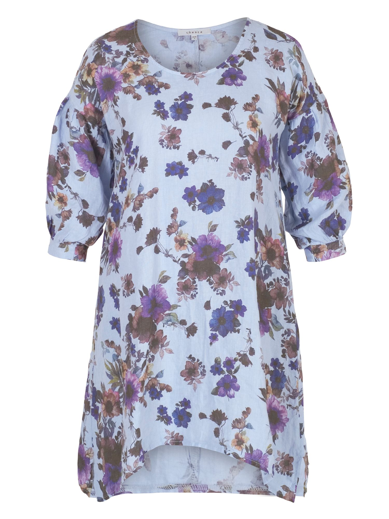 Chesca Floral Print Puff Sleeve Linen Tunic, Blue Multi
