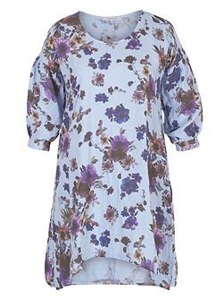 Floral Print Puff Sleeve Linen Tunic