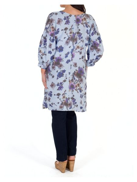 Chesca Floral Print Puff Sleeve Linen Tunic