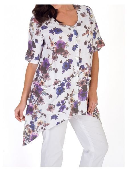 Chesca Floral Print Button Front Linen Tunic