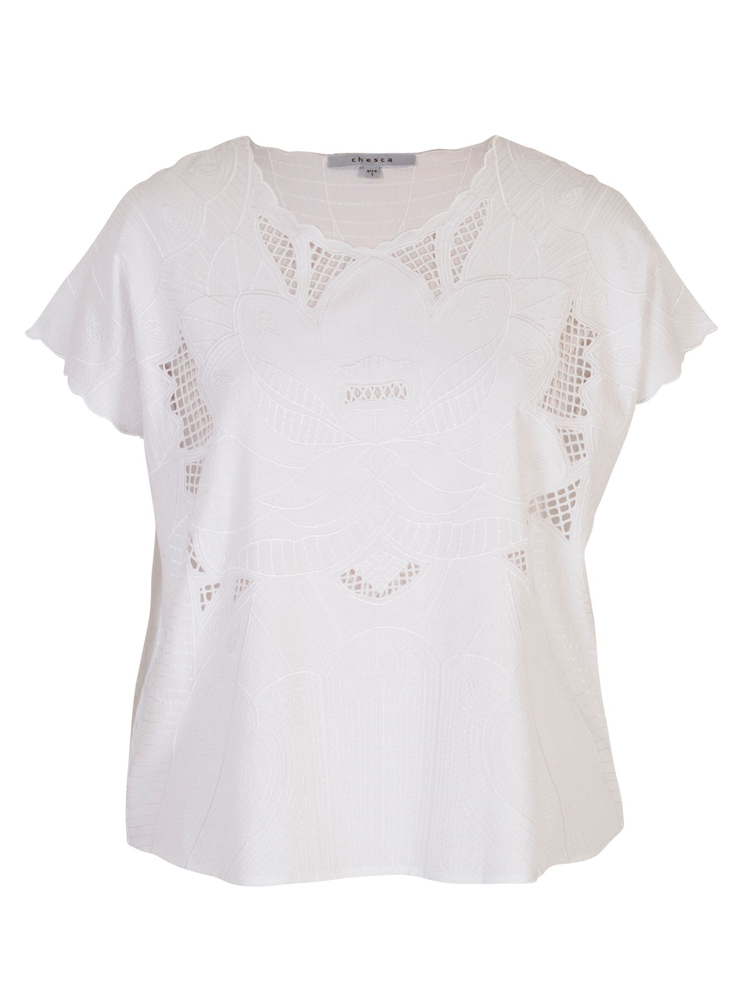 Chesca Embroidered Top, White