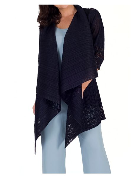 Chesca Border Lace Crush Pleat Shrug