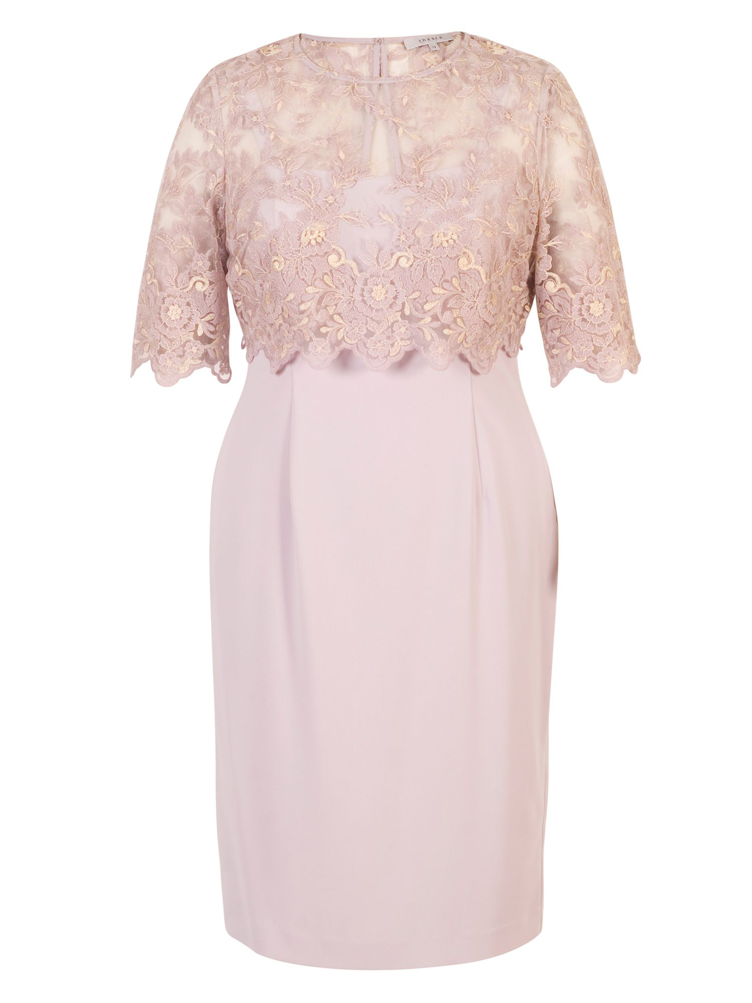 Chesca Crepe Shift Dress with Embroidered Top, Lilac