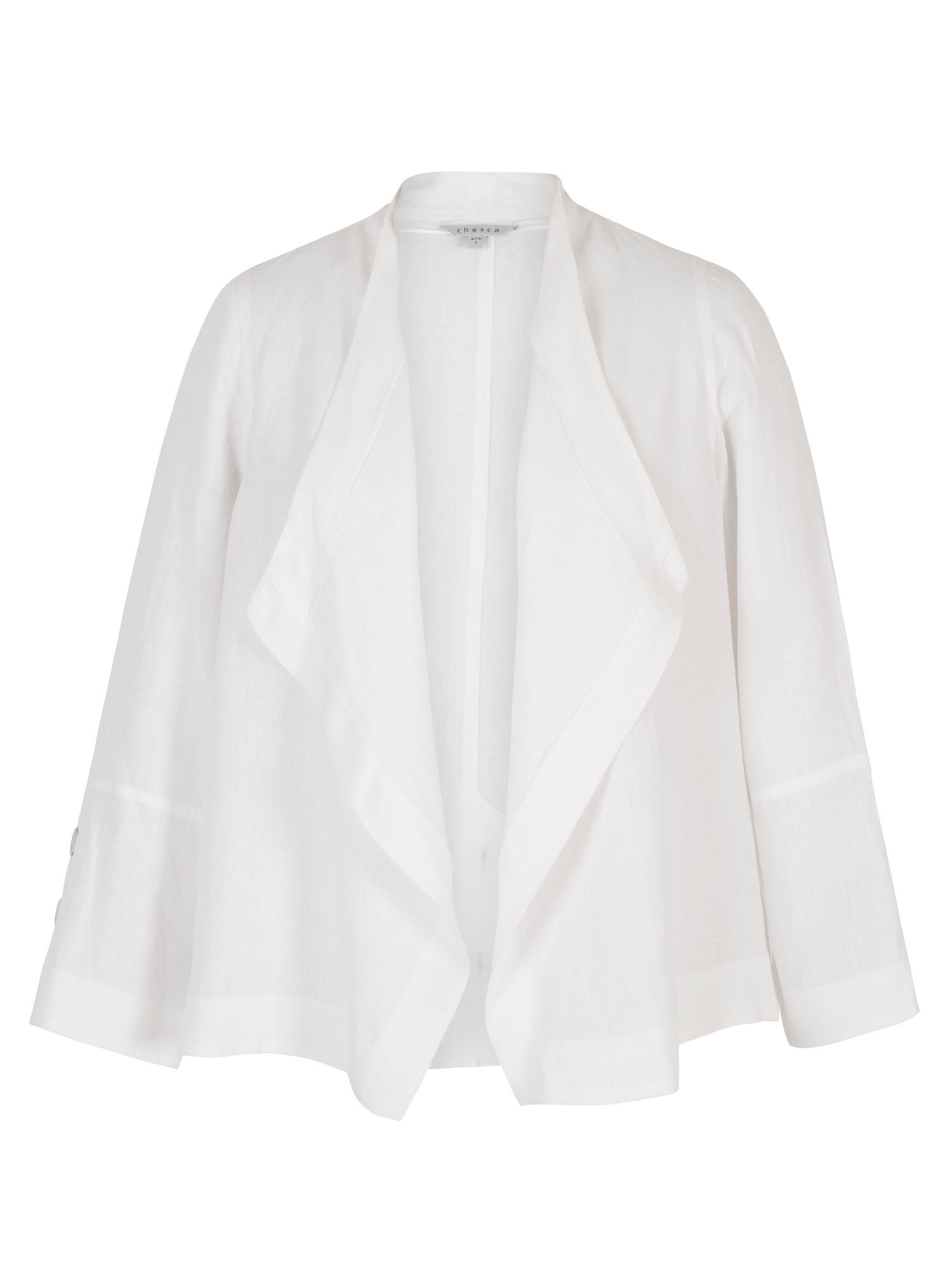 Chesca Button Trim Linen Shrug, Winter White