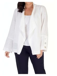 Chesca Button Trim Linen Shrug