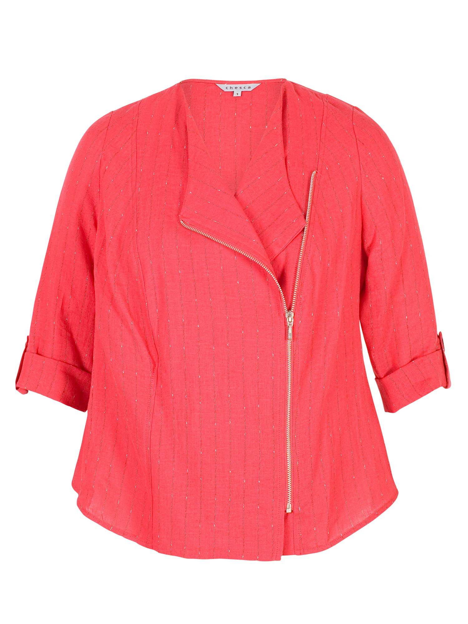 Chesca Tab Trim Pinstripe Linen Zip Jacket, Red