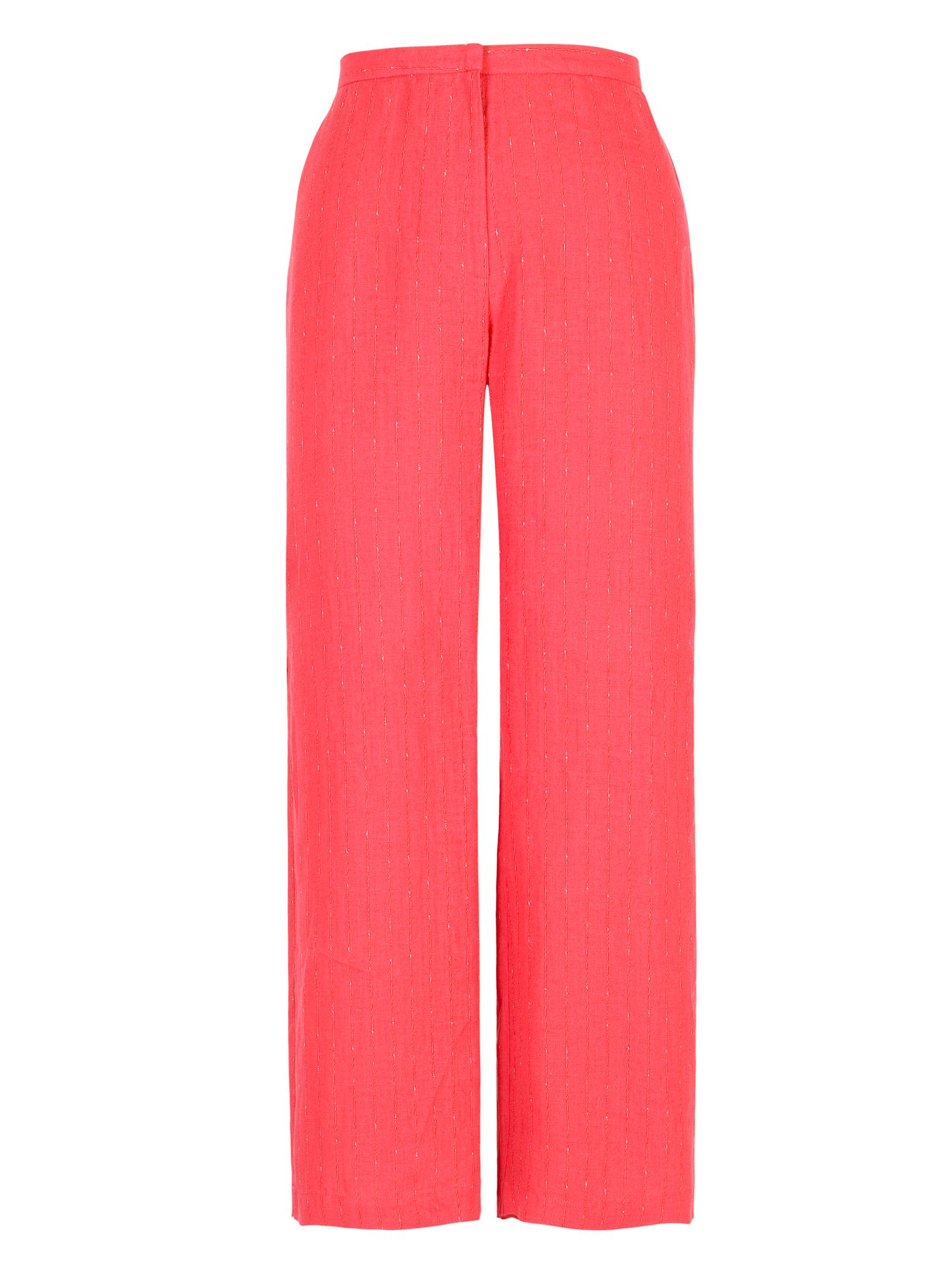 Chesca Pinstripe Linen Trouser, Red