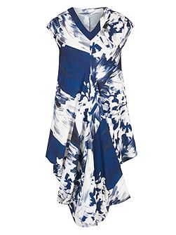 Abstract Block Flower Print Drape Dress