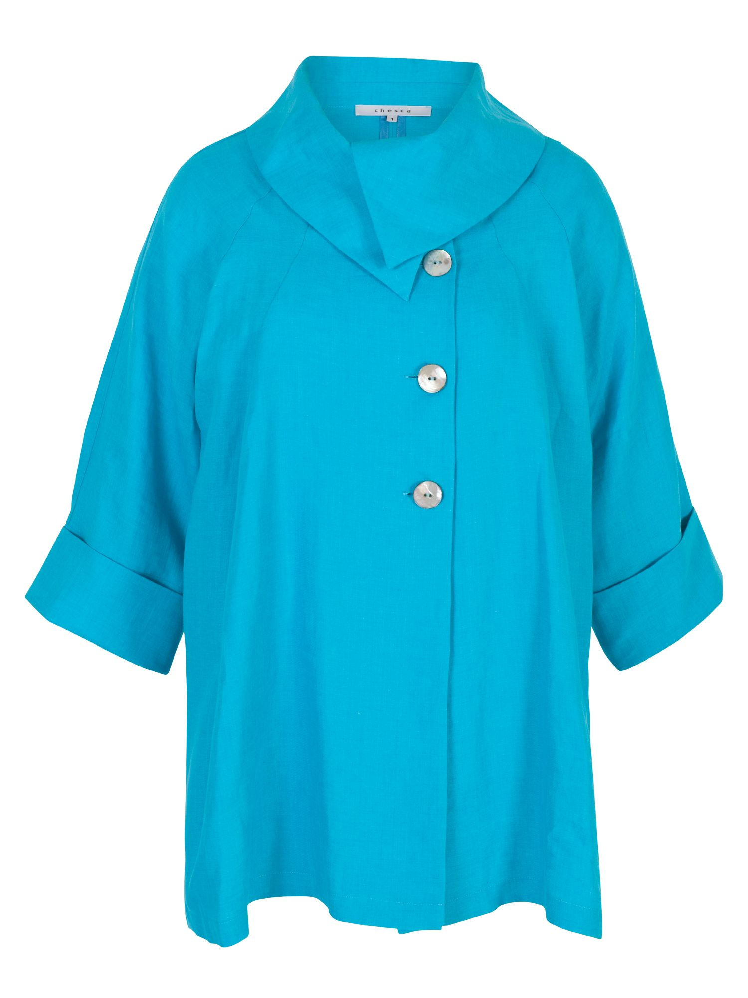 Chesca Large Collar Linen Coat, Blue