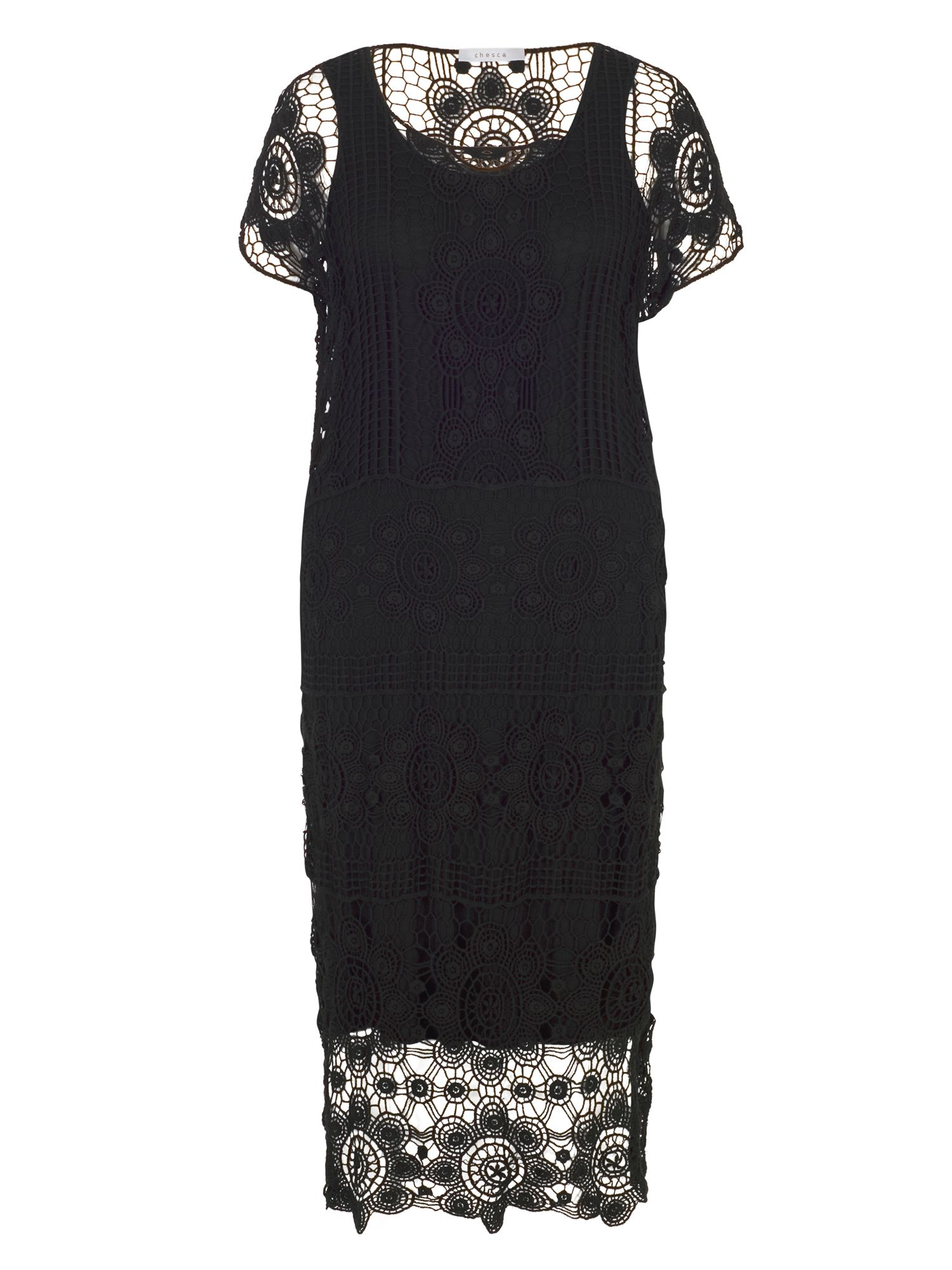 Chesca Crochet Dress With Separate Lining, Black