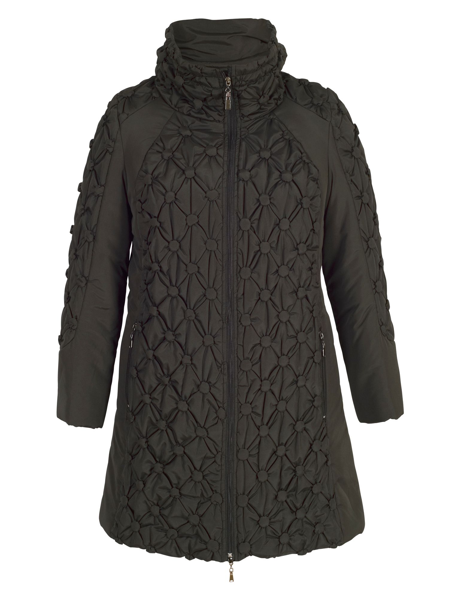 Chesca Quilted Coat with Button Detailing, Black