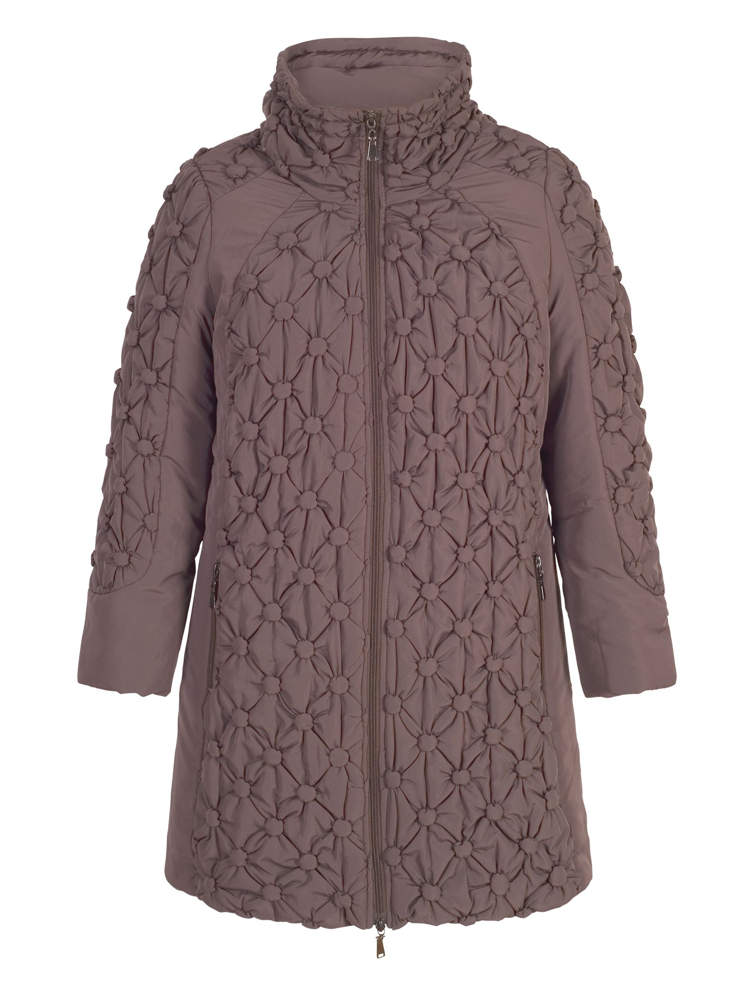 Chesca Quilted Coat with Button Detailing, Brown