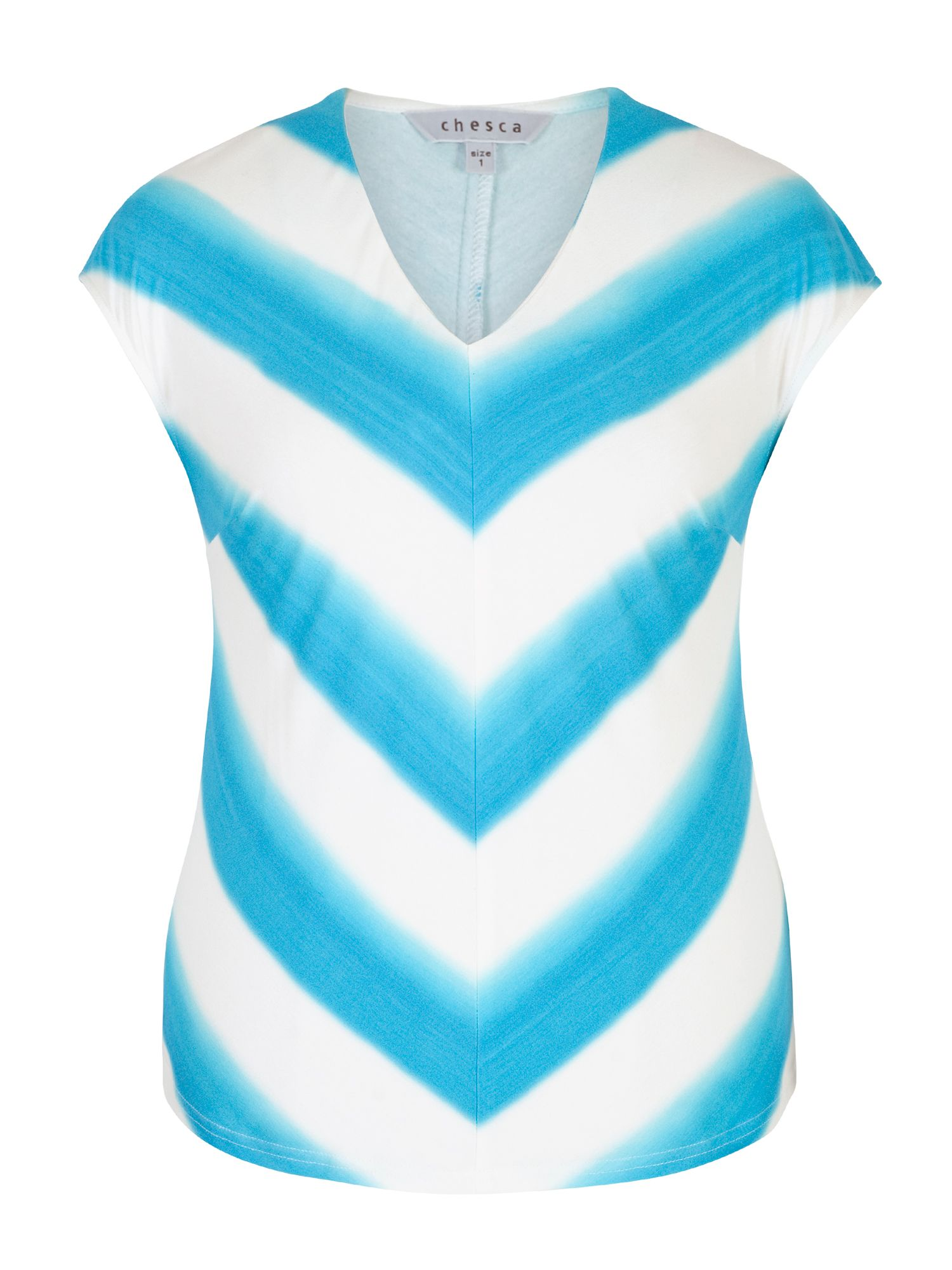 Chesca Ombre Stripe Chevron Jersey Top, White