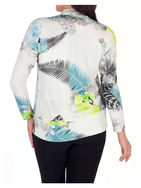 Chesca Fern & Floral Print Jersey Shrug