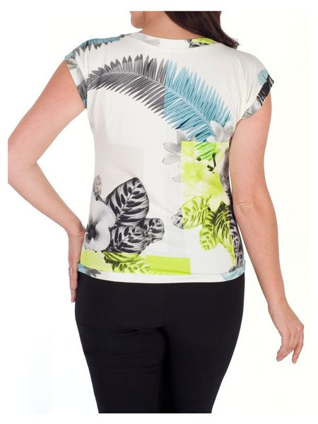 Chesca Fern & Floral Print Jersey Top