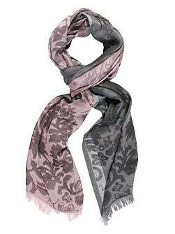 Floral Patterned Scarf with Frayed Hem