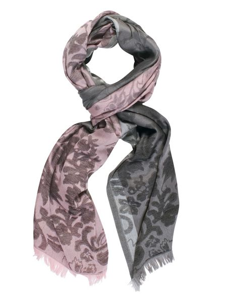 Chesca Floral Patterned Scarf with Frayed Hem
