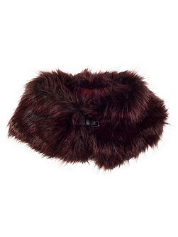 Faux Fur Collar with Buckle Detail