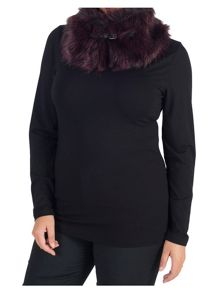 Chesca Faux Fur Collar with Buckle Detail