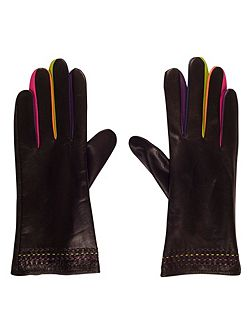 Leather Glove with Coloured Fingers (S)