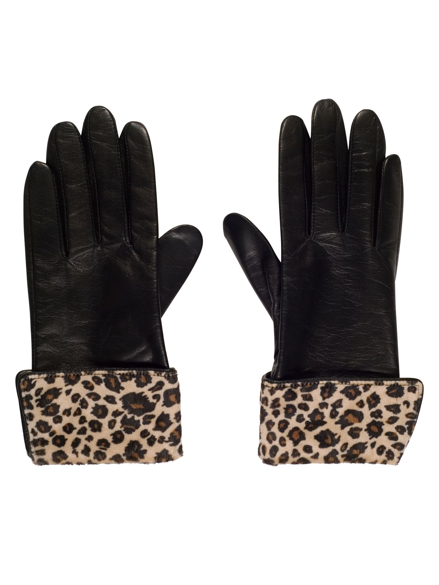 Vintage Style Gloves Chesca Leather Glove with Leopard Cuff S Black £69.00 AT vintagedancer.com