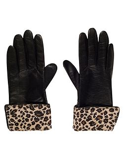 Leather Glove with Leopard Cuff (S)