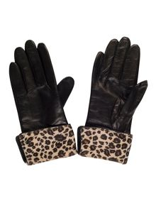 Chesca Leather Glove with Leopard Cuff (S)