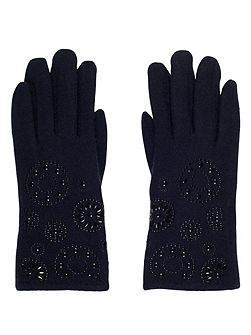 Navy Embossed Wool Gloves