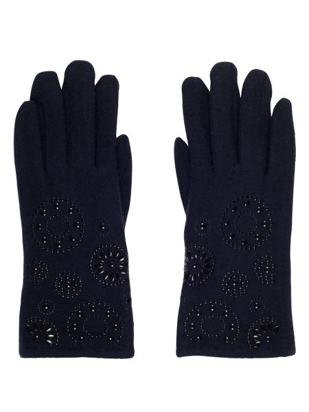 Chesca Navy Embossed Wool Gloves