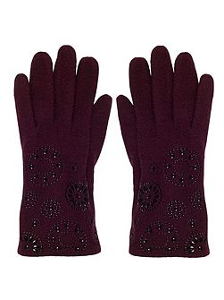 Cranberry Embossed Wool Gloves