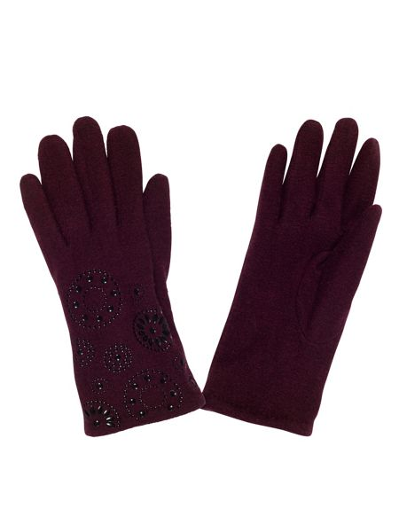 Chesca Cranberry Embossed Wool Gloves